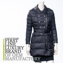 Luxury womens white long down coat ,Garment factory