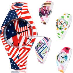 New fashion soft rubber strap flag pattern watch, womens watch silicon casual wrist quartz watch