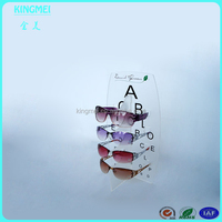Fashion design tabletop acrylic sunglasses showing display with printing logo