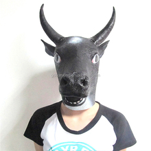 animal mask with two horns OX mask Halloween black cow full head latex mask