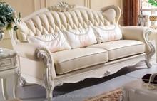 Antique wooden carving genuine leather sofa set living room furniture danxueya-837