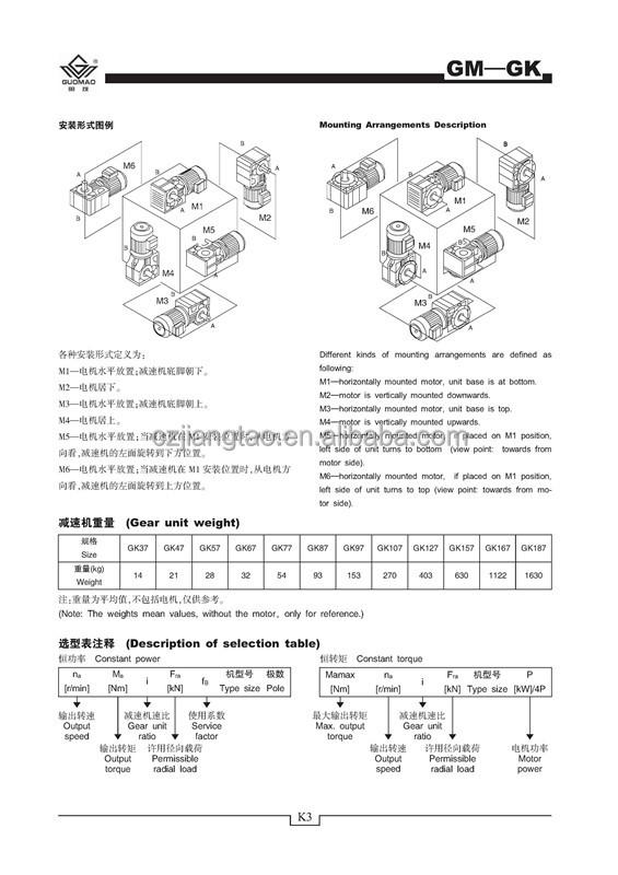 K series helical bevel reductor motor