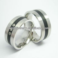 Fashion jewelry stainless steel three stone diamond engagement ring