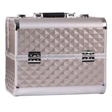 HOT! Fashional Diamond Aluminum Cosmetic Case Big Capacity Portable Cosmetic Box Big Size 31.8*21*26 cm