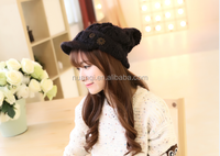 Custom knitted girls winter hats beautiful cute ladies winter caps cool women hats for wholesale