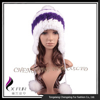 CX-C-205D Fashion Women Knitted Fox Fur Winter Hat With Earflaps