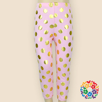 Wholesale cotton night pants for girls in autumn/fall,children polka dot pants,girls' favorite pink trousers