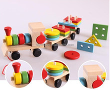 Educational Wooden toys wooden stacking trains wooden block baby early learning toys
