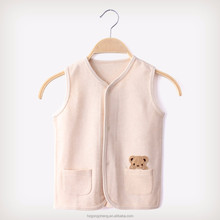 Spring&Autumn organic cotton baby vest with bear design