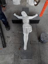 Marble carved Jesus statue headstone with cross