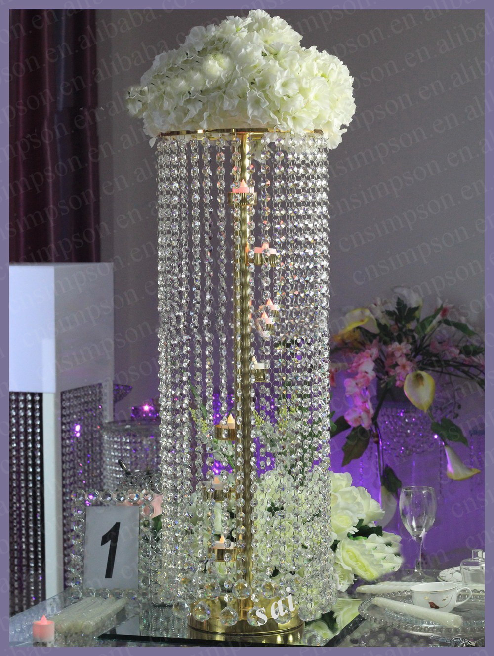 Crystal acrylic chandelier wedding table centerpiece with for Chandelier table decorations
