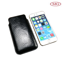 black PU leather cellphone pouch for iphone/samsung phone
