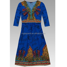 Unique Woven Tie Dye Yarn Die Colorful Midi-Sleeve Wetsern National Dress
