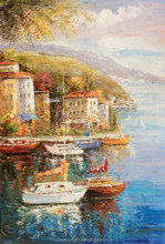 Hot Sell Mediterranean Seascape Scenery with Boats Handmade Oil Painting on Canvas for Wall Art Decoration