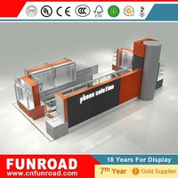 Funroad high quality mall cellphone cases display kiosk