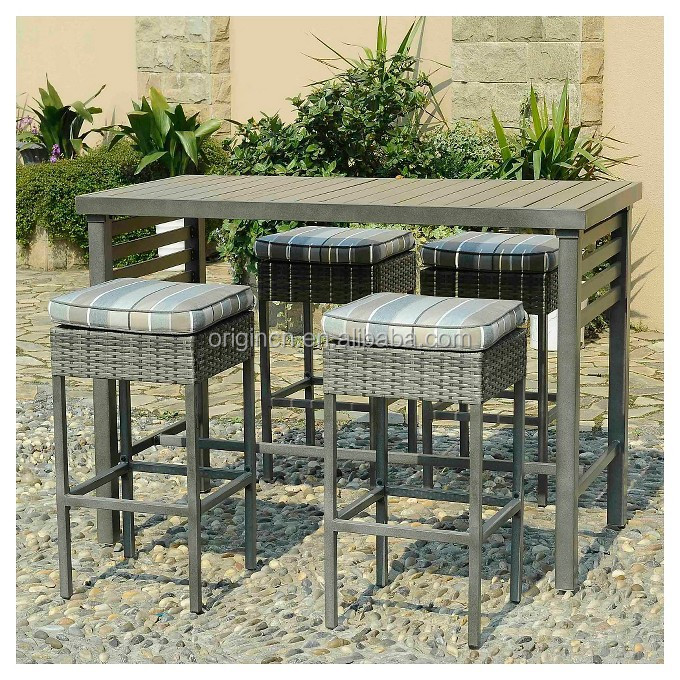 Patio Bar Furniture Wood posite Top Dining Table With 4 Cushioned Wicker M