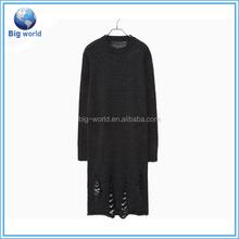 damage weave knit sweater/women knitwear/dress knit/loose knit sweatet/sweater dress fashion design