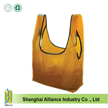 Eco friendly polyester ripstop foldable folding shopping tote bags grocery reusable bags drawstring pouch