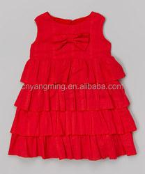 Hot sexy 2015 red flower ruffle sleeveles cloth dresses ,girls party /weeding/birthday dresses