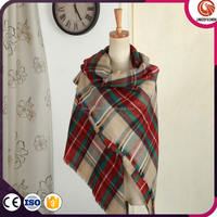 Fast delivery Best Saling European style tartan plaid poncho for winter