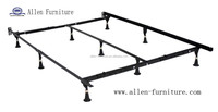 Universal Heavy Duty Adjustable Metal Bed Frame with Center Bar and 9 legs