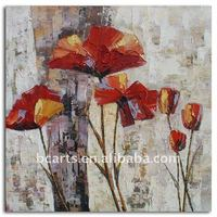 Modern Abstract Flower Decorative Painting on canvas and Thick Textured Hand-Painted Home Decor Hotel Wall Art with frame. Hot