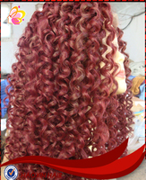 2015 hot sale Brazilian human hair red curl front lace wig