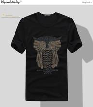men's 100% cotton owl beads short sleeve slim fit t shirt men's clothing