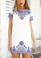 New Summer Cute Casual Girl Bodycon Dress Pattern Blue Floral Women Clothing