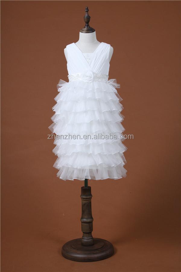 Mn-f014 strati di tulle bianco fondo carino bambini abito da sposa per 4 anni