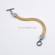 Gold with gun metal snake bracelet snake chain crystals head bracelet