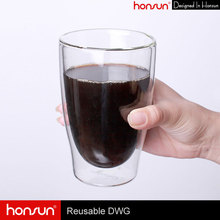 Custom unbreakable cappuccino 350ml glass coffee mug double wall