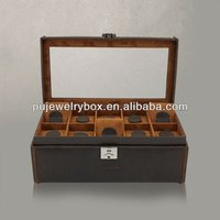 Classical style dark coffee leather 10 slots mixed wrist watch and jewelry storage and display box/ case with tray