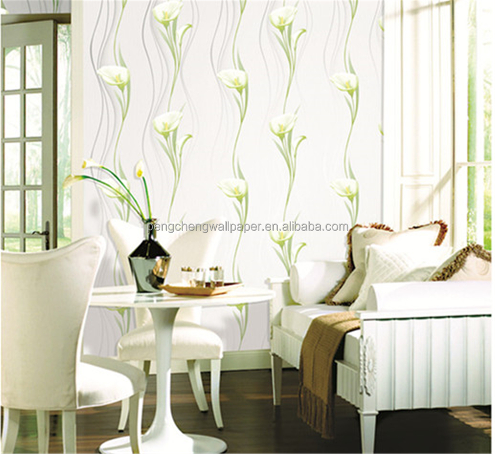 2015 New White Flower Design Wallpaper Bonny & Decorative For Home ...