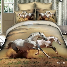 Magnificent Galloping White Stallions 3d Animal Bed Set