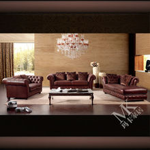 Popular italian genuine brown leather chesterfield sofa for sale HD220 in guangdong