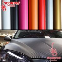 SCORPIO High stretch colorful pvc adhesive vinyl wrap car carbon fiber 3d