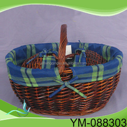Printed Canvas Picnic Basket,Fashion Flower Printing Picnic Basket