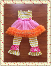 Cotton Kids Fashion Sleeveless Dress Matching Casual Ruffle Stripe Pant Brand Name Remake Carters Baby Clothing