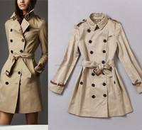 High-end 2014 autumn-winter newest fashion name brand breasted trench coat for women G189