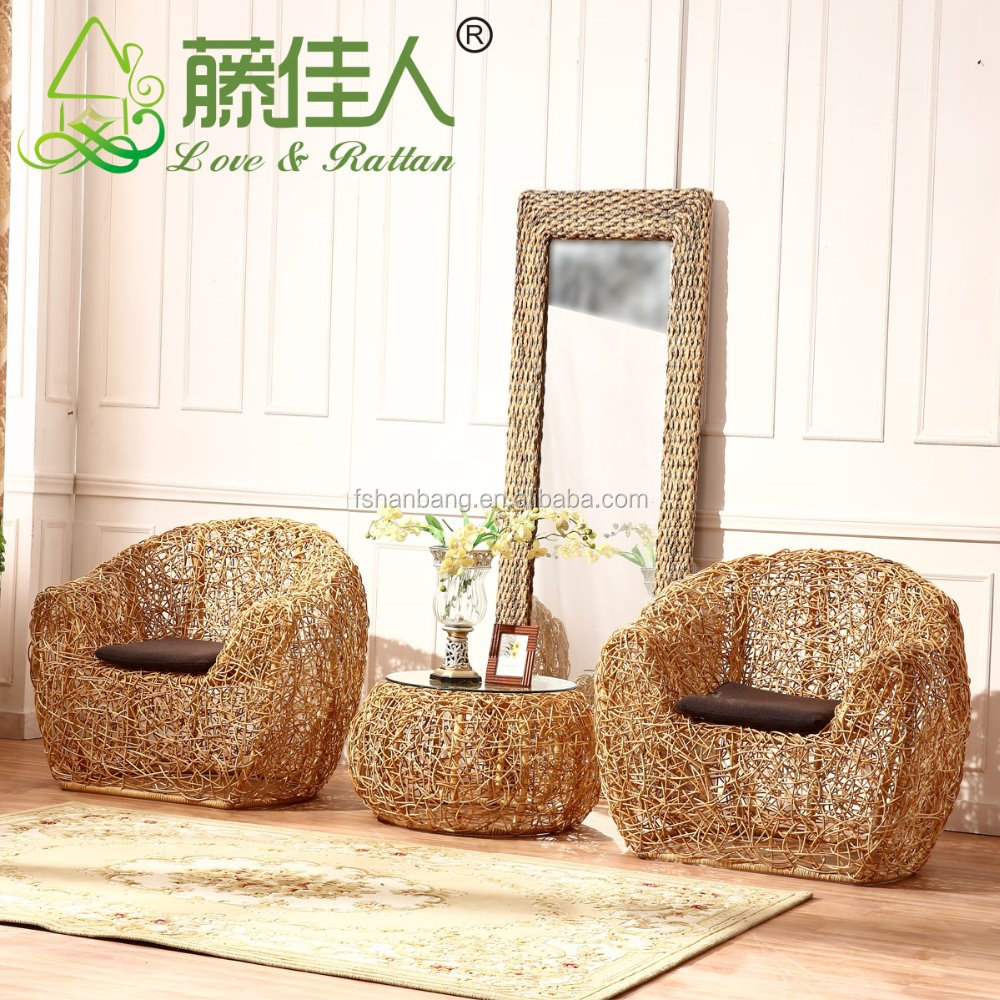 Water Hyacinth Natural Rattan Living Room Large Leisure Lounge ...