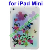 Newest arrival Colorful Peach Flower Pattern TPU Case for iPad Mini