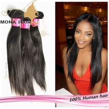 Can be colored or restyled silky straight wave hair extentions, 7A grade no chemical process 34 inch straight hair weave