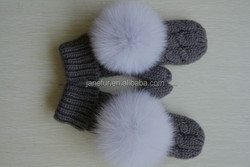 Gray knitten warmer glove match fox fur top ball/ customize gloves/ colorful glove match top ball