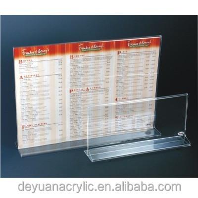 factory price clear 4×6 acrylic menu holder/ plastic menu holder