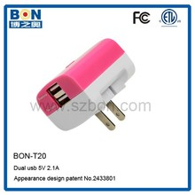 dual usb travel charger transformer for mobile phone charger 5v 2a usb wall charger