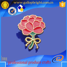 Beautiful metal rose shape flower lapel pin emblems with enamel