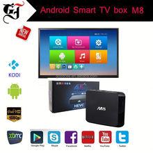 Android tv box 4K M8 quad core set top box best OTA update kodi tv box alumiumn case dual band wifi