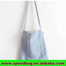 Simple style blue sling cross body bag Long strap canvas cross body shoulder bags