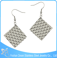 Stainless Steel Crystal Diamond shaped Drop Earrings, jewellery women's, dangler earring